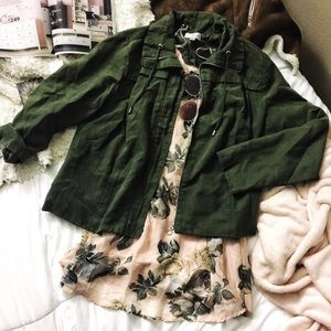 Dark Olive Green Suede Jacket